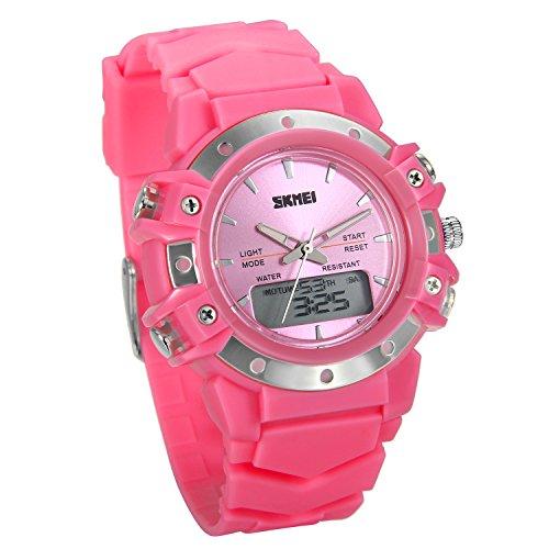 nder Armbanduhr, 50 Meter Wasserdicht Digital Sport Outdoor Uhr, Dual Zeitzone Design, Multifunktions mit Alarm Kalender Woche Stoppuhr, pink ()