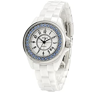 AMICA Women's Dress Ceramics Band Quartz Hardlex Glass Diamond Wrist Watch 50M Water Proof Luxury Gift (White Blue)