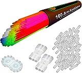 "100 Glow Sticks 7-colormix, Test Score: 1.4 ""VERY GOOD"", Complete Set incl. 100x TopFlex-, 2x triple and 2x ball connectors"