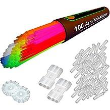 KnickLichter Glowinx - 100 Lightstick 7 colori, Set completo include 100x connettori TopFlex, 2x connettori tripli e 2x connettori a