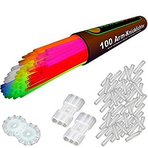 100 Premium Arm-Knicklichter KNALLBUNT. 7-farbiges Komplett-Set NEU jetzt mit neuen TopFlex Verbindern und dreifach spezial Verbindern gratis - Komplett-Set mit 204 Teilen - Fabrikfrische Qualitätsware - seit 12 Jahren in Markenqualität - unter e