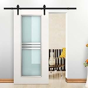 yahee 6ft 183cm quincaillerie kit de porte coulissante rail syst me de porte coulissante. Black Bedroom Furniture Sets. Home Design Ideas