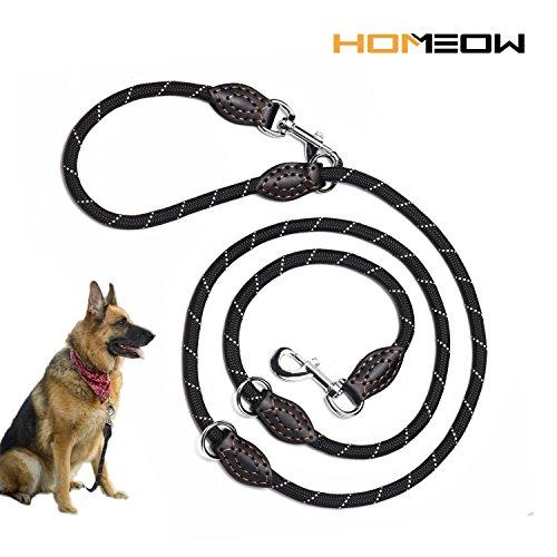 HOMEOW Premium Hundeleine Doppelleine 2m große Hunde 4 Fach verstellbar Führleine Laufleine Umhängeleine Handmade Leder Leine Gurt für Hunde schwarz