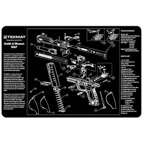 Tekmat Pistole-Fußmatte mit Aufdruck Smith Wesson Mandp-Schwarz, 11 x 17 cm (Gun Cleaning Mat)