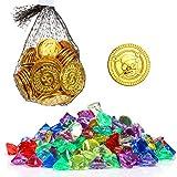 Kesote 300 Pièces Pirate Pièces d'or et 100 Pcs Pirate Bijou Bijoux Pièces en Plastique,Diamants Trésor Jeux Gold Coins Parti Pirate De Bijoux Les Enfants de Fête...