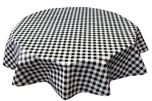 Toile cirée nappe ronde 140cm Noir Blanc à carreaux, lavable