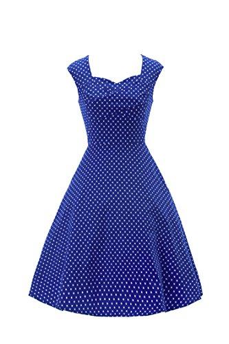 ILover candy couleur cru balancer rockabilly cercle complet 50s robe cocktail en soirée Blue dots