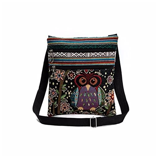 Yuan Women Shoulder Bag Linen Handbags Embroidered Owl Tote Bags
