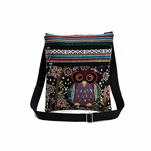 - 515YVmubttL - Yuan Women Shoulder Bag Linen Handbags Embroidered Owl Tote Bags