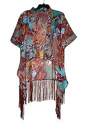 URBAN TRENDZ 2468 Polyester floral Printed Kimono topper