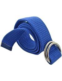 BONAMART ® Unisex Damen und Herren Doppel-Ring Einfarbig Stricken Canvas Web Gürtel Belt