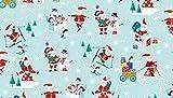 Weihnachten Stoffe–Santa Schneemänner blau