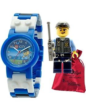 LEGO Special Police Kinder-Armbanduhr LEGO City weiß blau mit Transportsäckchen Kunststoff-Armband Quarzuhr ULE8020028