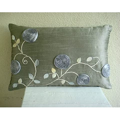 Silver Rose Garden - Decorativa Funda de Cojin 30 x 35 cm, Rectangle/Lumbar Plata Seda Diseño Floral de La