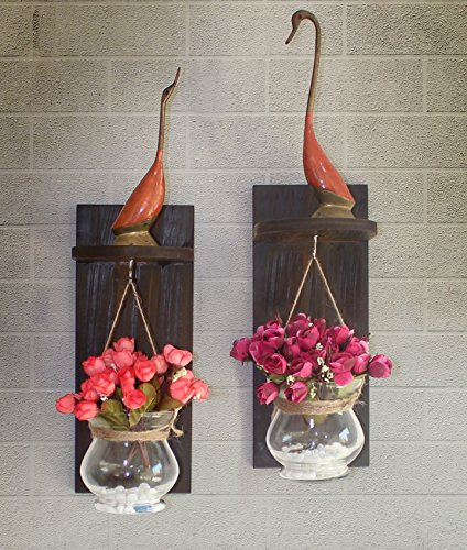 Tied Ribbons Wooden Wall Shelf With Flower Vase And Artificial Flowers Set...