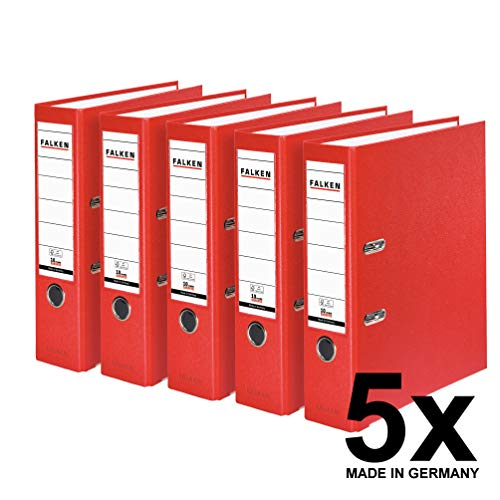 Falken PP-Color Kunststoff-Ordner 8 cm breit DIN A4 rot 5er Pack Ringordner Aktenordner Briefordner Büroordner Plastikordner Schlitzordner