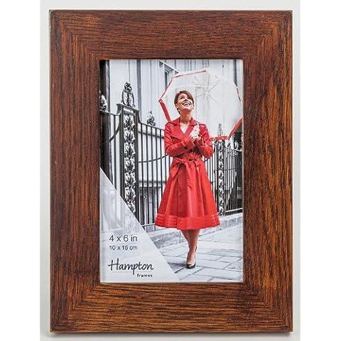 new46do-fba New England con acabado de madera oscura alta calidad 4x 6in/A6(10x 15cm) Marco de fotos de madera de roble macizo bonita–Juntas de esquina mesa o colgar en la pared