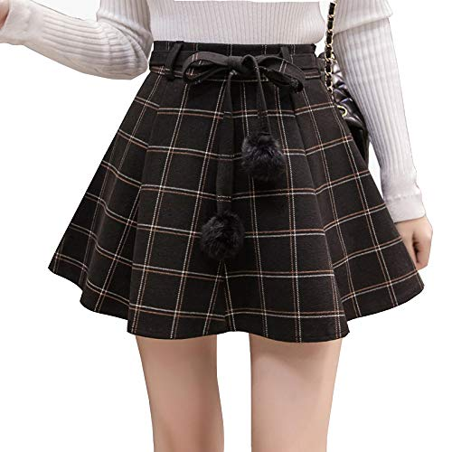 Plaid Tutu (QJKai Rock Damen Woolen High Waist Slim A-Linie Tutu Plaid Kurzer Rock)