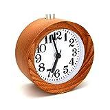 symboat Digitale Tisch rund Snooze Büro Buche Holz Wecker Hintergrundbeleuchtung Timer Wecker