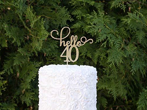 Hello 40 Happy 40th Birthday Party Gold Glitzer Topper Geburtstag Dekoration Dirty 40 Happy 40th Birthday 40th Birthday 40th Birthday 40 40 Years (40th Birthday Banner Personalisierte)