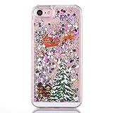 """Cover rigida per iPhone 6 Plus e 6S Plus da 5.5"""", con motivo natalizio, liquido con glitter, Babbo Natale e stelle, Silicone, Colorato, iPhone 6 Plus/6S Plus"""