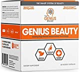 Genius Beauty - Hair Skin and Nails Vitamins + Detox Cleanse + Anti Aging Antioxidant Supplement, Collagen Pills w/Glutathione & Astaxanthin for.