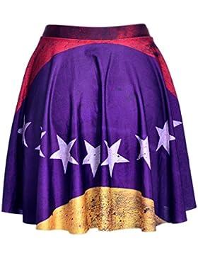 Honghu Mini Corto Elástica Plisada Básica Falda para Mujer