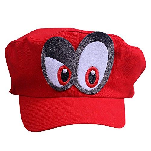 Super Mario Mütze ODYSSEY ROT mit Augen RECHTS für Erwachsene und Kinder Karneval Fasching Verkleidung Kostüm Mützen Hut Cap Herren Damen Kappe (Wario Kostüm Hut)
