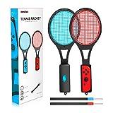 Tennisschläger für Nintendo Switch - innoAura Tennisschläger für Joy-Controller für Mario Tennis Aces Spiele (2 Stück, schwarz)