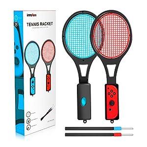 Tennisschläger für Nintendo Switch – innoAura Tennisschläger für Joy-Controller für Switch Spiele (2 Stück, schwarz)