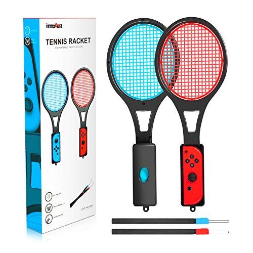 Raquette de Tennis pour Nintendo Switch – innoAura Raquette de Tennis pour les Manettes Joy-Con pour Jeux Mario Tennis Aces  (2P, Noir)