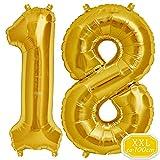 DeaGo XXL Folienballon Zahl [ca.100cm], Gold Luftballon Zahlen für Geburtstag Jubiläum & Party Geschenk partydeko Folienballon Zahlen Luftballons Happy Birthday (Gold [18])