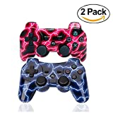 [2 Pack] PS3 manette sans fil Contrôleur de jeu à double vibration sans fil Camouflage Bluetooth Sixaxis Gamepad Remote pour PS3 Playstation 3 [Gift 2 Charging-Cable]