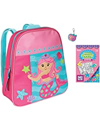stephen joseph Girls Mermaid Backpack and Zipper Pull with Coloring  Activity pad 1e435d35a98ee