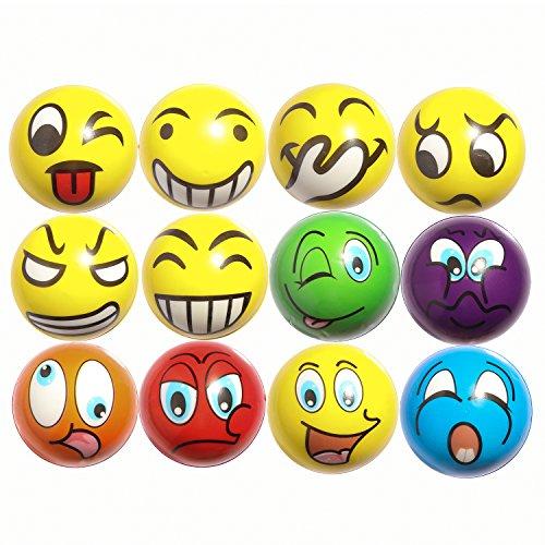 ZYDTRIP Emoji Squishy Spielzeugball, 12 Stück Stressabbaukugel Anti-Stress-Spielzeugkugeln für Kinder und Erwachsene - Emojis Stress-bälle