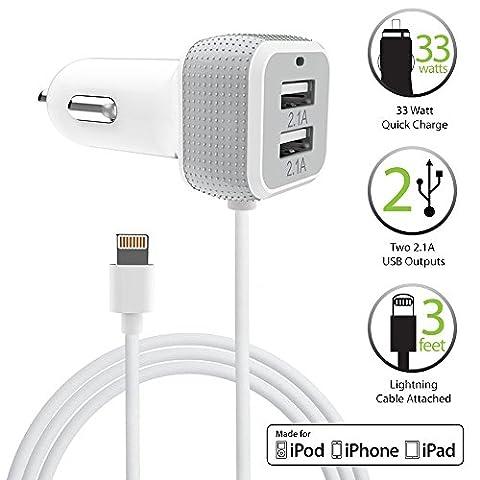 [Apple MFI Certifié] Chargeur Voiture, FosPower 33W Chargeur Allume Cigare USB, Double Ports USB Avec Câble Lightning Certifié pour Apple iPhone 7 / 6s / 6s Plus / 5S / SE Téléphone Intelligent, Appareils électroniques Portables & Plus!