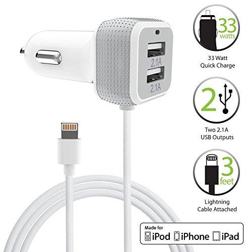 [Apple MFI Certificado] Cargador de Coche, FosPower USB Dual-Port [6.6A/33W] cargador auto con Lightning Cable de 8 Pin para Apple iPhone 7/6s/6s Plus/5s/SE teléfono inteligente y tableta (Blanco)