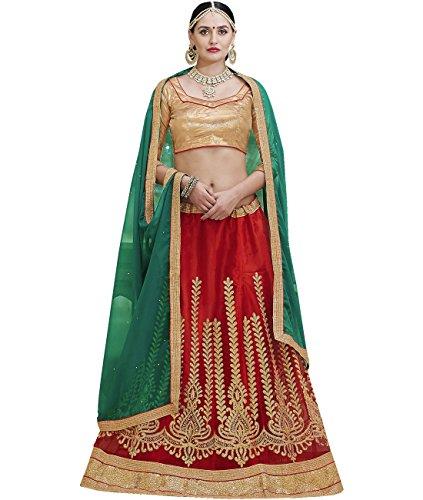 Indian Ethnicwear Bollywood Pakistani Wedding Red A-Line Lehenga Semi-stitched-ARD43006