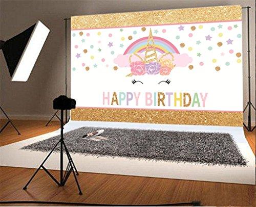 (YongFoto 1,5x1m Vinyl Foto Hintergrund Netter Einhorn Kopf Regenbogen Alles Gute Zum Geburtstag Fotografie Hintergrund für Fotoshooting Portraitfotos Party Kinder Hochzeit Fotostudio Requisiten)