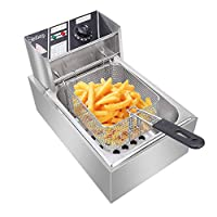 Asdomo ZOKOP EH81 2500W 220-240V 6.3QT/6L Stainless Steel Single Cylinder Electric Fryer UK Plug