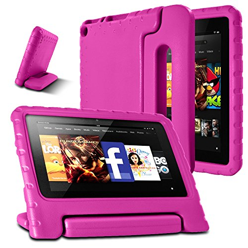 AFUNTA F i r e 7 2015 Case,Super Lightweight Shock Proof Convertible Handle Stand EVA Protective Kids Case for A m a z o n F i r e 7 inch Display Tablet (5th Generation - 2015 Release Only)-Rose Red