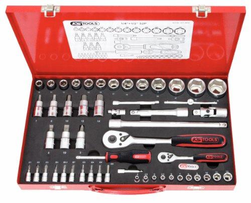 KS Tools 917.4053 Coffret 52 pièces Clé à cliquet rallonges embouts et douilles 1/4\