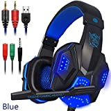 Ocamo Video-Game-Headsets Over-Ear Gaming Headset mit Mikrofon und LED-Licht für Laptop Handy PS4 blau