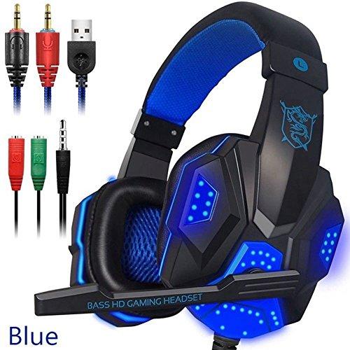 Auricurales Casco audífonos de Juego con micrófono y luz LED para computadora Portátil PS4