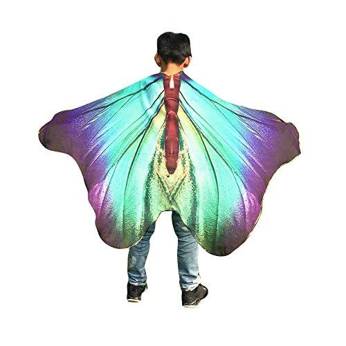 KPILP Kind Kinder Jungen Mädchen Weiche Gewebe Schmetterlings Flügel Schal Feenhafte Böhmischen Gedruckt Kostüm Zubehör Faschingskostüme(Violett