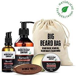 kit cuidado de barba: Big Beard Bag ✔ consiste en champú, aceite, bálsamo y cepillo para la barba ✔ cosméticos naturales de la BROOKLYN SOAP COMPANY ®✔ idea de regalo para hombres y como bolsa de aseo