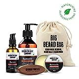 Big Beard Bag · Brooklyn Soap Company · Bartpflege-Set im Jutebeutel inkl. Bartshampoo, Bart-Öl, Bartwachs & veganer Bartbürste