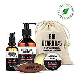 Bartpflege Set im Jutebeutel · Brooklyn Soap Company: Big Beard Bag · Hochwertiges Bartpflege-Set mit Bartshampoo, Bartöl, Bartwachs & veganer Bartbürste ✓