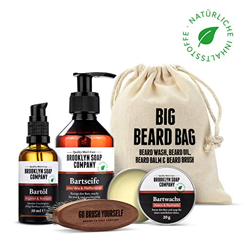 Brooklyn Soap Company: Big Beard Bag · Hochwertiges Bartpflege Set für Männer mit Vollbart · Produkte: Bartshampoo, Bartöl, Bartwachs & vegane Bartbürste ✓