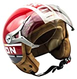 SOXON SP-325-PLUS Red · Helmet Bobber Mofa Jet-Helm Chopper Roller-Helm Vintage Vespa-Helm Cruiser Scooter-Helm Motorrad-Helm Pilot Retro Biker · ECE zertifiziert · inkl. Sonnenvisier · inkl. Stofftragetasche · Rot · XL (61-62cm)